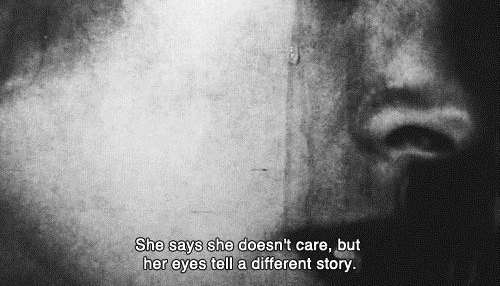 b&w, black and white, film, girl, quote, story, tear, woman