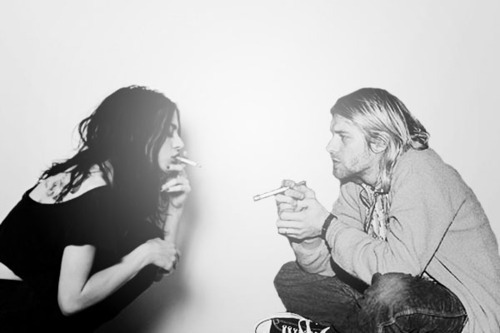 b&w, black and write, cigarrette, eyes, frances, frances bean cobain, frances cobain, grunge, hair, image, kurt, kurt cobain, kurt donald cobain, nirvana, photo, photography, picture, smoke