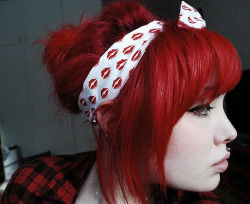 bandana, cute, girl, red hair