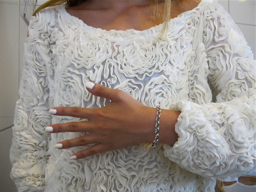 barbie, cute, fashion, h&m, nails, outfit, white