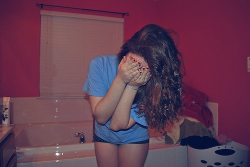 bathroom, blue shirt, girl, hair, red nails