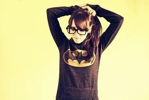 batman, fashion, girl, glasses, nerd