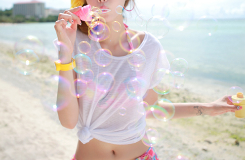 beach, beautiful, bubbles, cute, girl