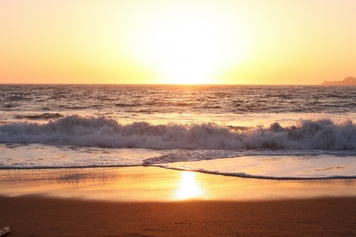 beach, beautiful, ocean, reflection, sea, sunset, water, waves