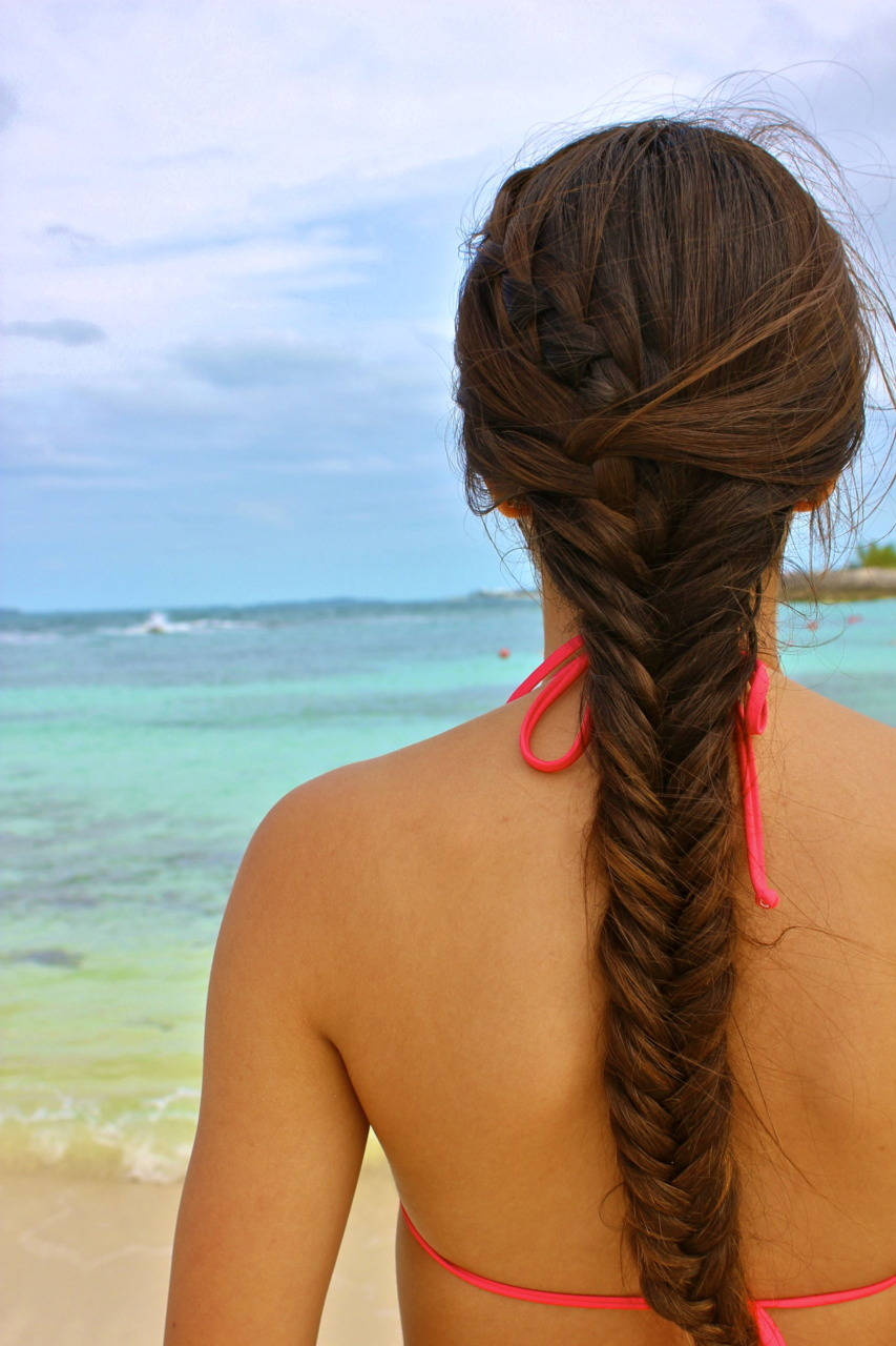 beach, bikini, braid, longhair, summer