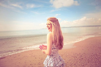 beach, blonde, girl, pretty, sea