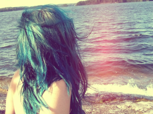 beach, blue hair, cute, girl, hair