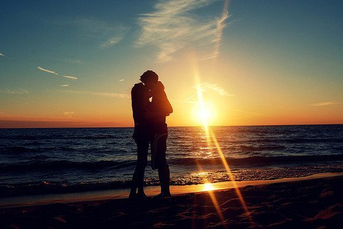 beach, boy, couple, girl, kiss, love, photo, sea, sunset