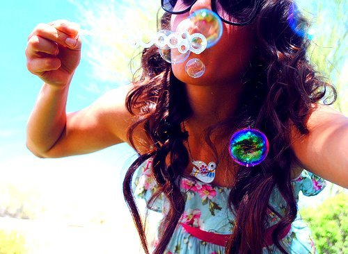 beach, brown, bubble, girl, hair, love, summer, sun