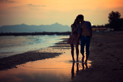 beach, couple, sunset