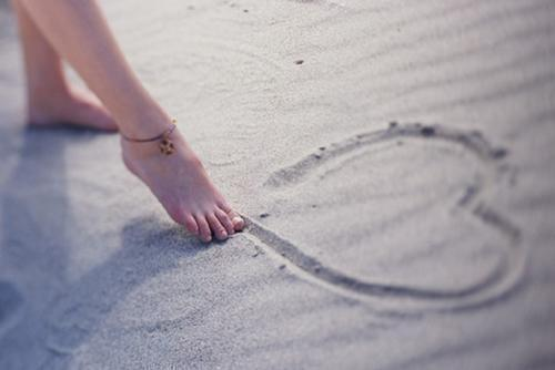 beach, cute, foot, girl, heart