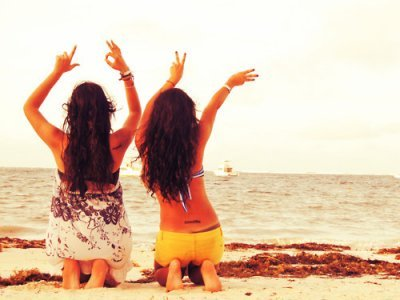 beach, feel, friends, girl, girls, hair, happy, summer, sunshine