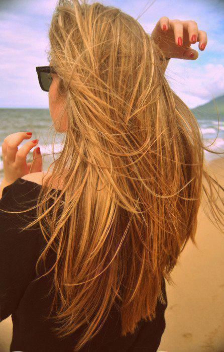 beach, girl, hair, red nails