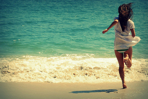 beach, girl, sand, sea, summer