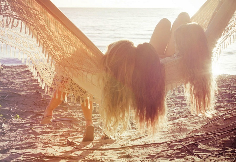 beach, girls , hair, hammock, light