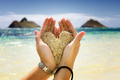 beach, heart, love, sand