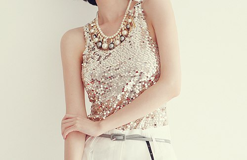 beads, blouse, fashion, girl, glitter, gold, sequins, shine
