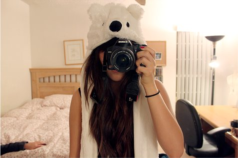 bear, camera, canon, cute, girl, room, white
