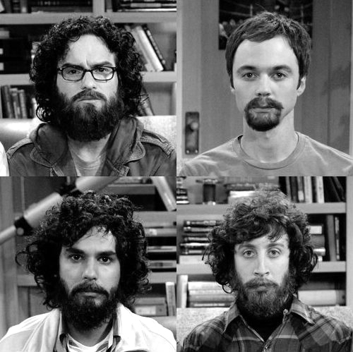 beard, black and white, howard wolowitz, leonard hofstadter, raj koothrappali