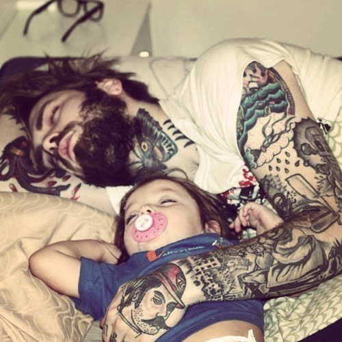 beard, cute, daddy, family, nice, tattoo