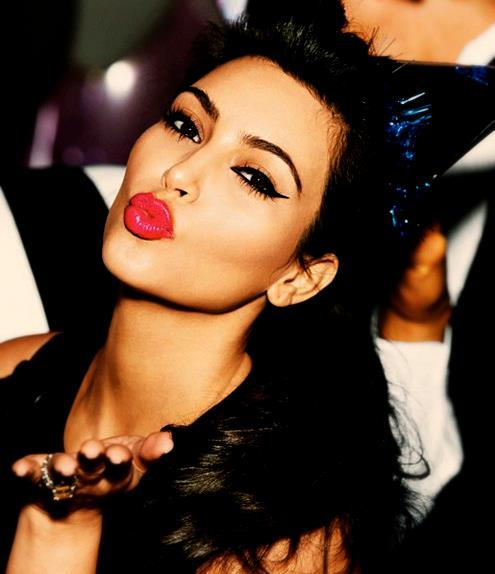 beautiful, beautiful girl, beautiful hair, celebrites, celebrity, cute, eye, eye shadow, famous, girl, hair, hot, kim kardashian, kiss, lipstick, make up, red, red lipstick, sexy