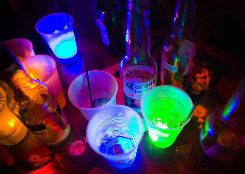 beautiful, beauty, beer, blue, colors, cool, fun, pink, pretty, sweet, rainbow, glow, table, corona, drinks, night, love, green, straws, party, ice, lights