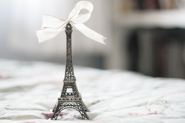 beautiful, bed, bow, dreamer, eiffel tower