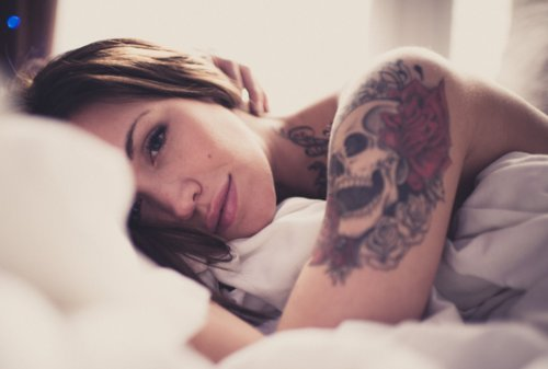 beautiful, bed, brunette, comfortable, funny, girl, pretty, rose, skull, skulls, tattoo, tattoos, vintage, woman