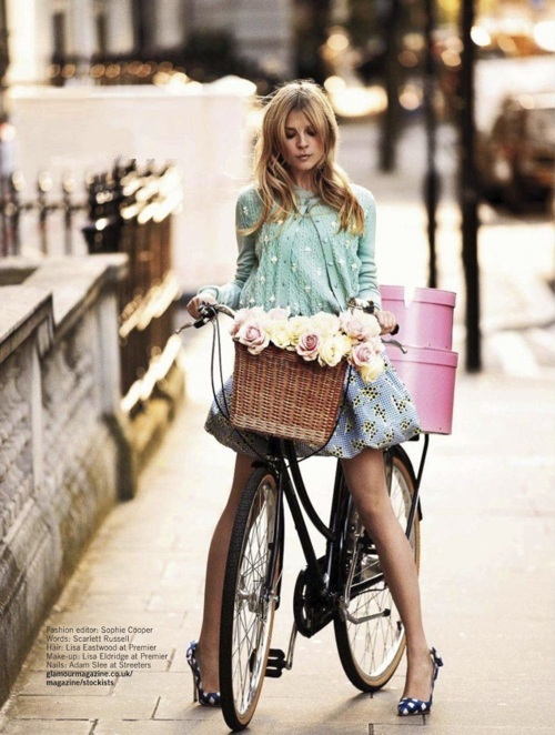 beautiful, bicycle, cute, fashion, flower, flowers, girl, vintage