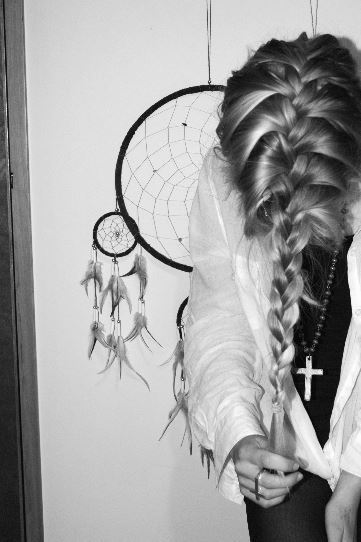 beautiful, black and white, cross, cute, dream catcher, french plait, girl, hair, madel, nails, photography, rings, vintage