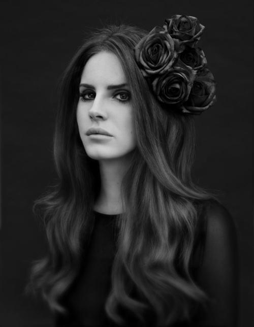 beautiful, black and white, flowers, girl, hair, hairstyle, lana del rey, photography, portrait, roses