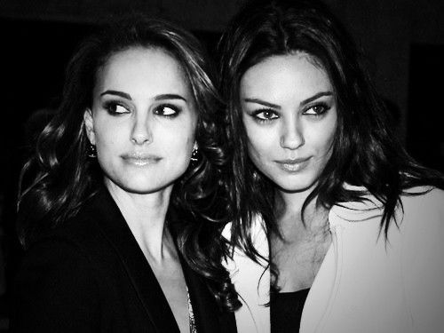 beautiful, black and white, mila kunis, natalie portman