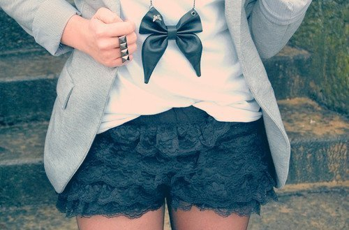 beautiful, black, bow, bows, cardigan, cream, cute, grey, lace, pretty, shorts, white