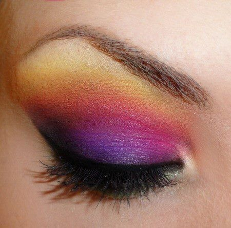 beautiful, black, color, eyes, eyeshadow, gorgeous, lashes, love, makeup, pink, pretty, purple, sunset, yellow
