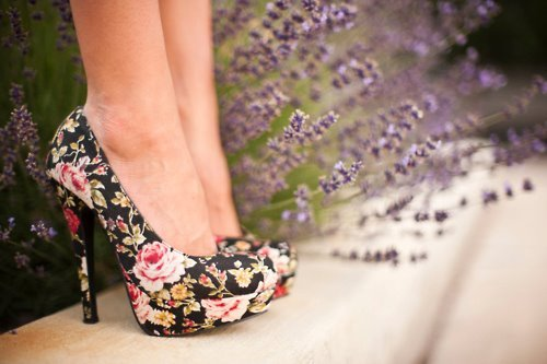 beautiful, black, colorful, flowered, girl, shoes