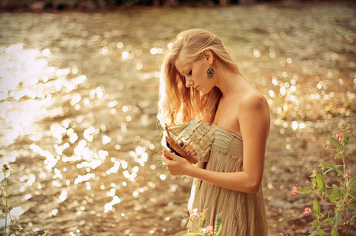 beautiful, blonde, bright, colors, dress, girl, light, photography, pretty, river, sea, shine, summer, sun, sunny