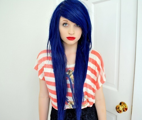 beautiful, blue, blue hair, cool, door, exstensions, fashion, girl, hair, make up, perfect, photography, pretty