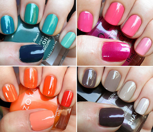 beautiful, blue, bright, brown, colorful, colors, cute, elegant, fashion, girl, grey, lovely, nail polish, nails, orange, pink