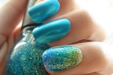 beautiful, blue, girl, girlish, glitter, green, nails, photography, sparkle