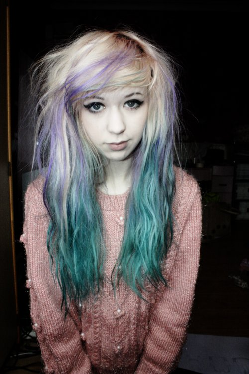 beautiful, bluee, colors hair, cool, cute