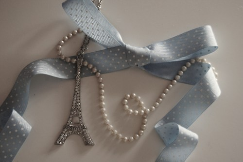 beautiful, bow, cute, dots, eiffel tower, france, girly, necklace, paris, pearl, pearls, tour eiffel, vintage
