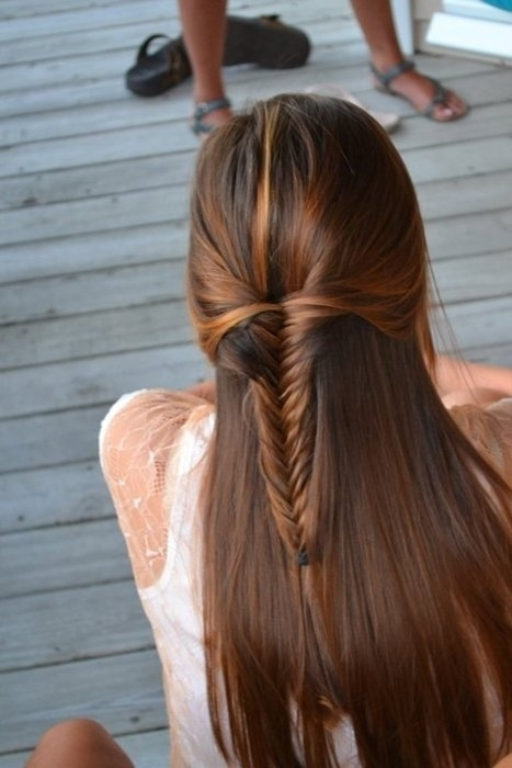 beautiful, braid, brunette, cute, fishtail, fishtail braid, girl, glossy, hair, highlights, long hair, pretty, serene, summer