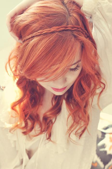 beautiful, braid, girl, hair, red