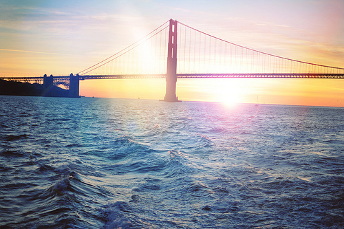 beautiful, bridge, golden gate, photography, river, sunrise, sunset, usa