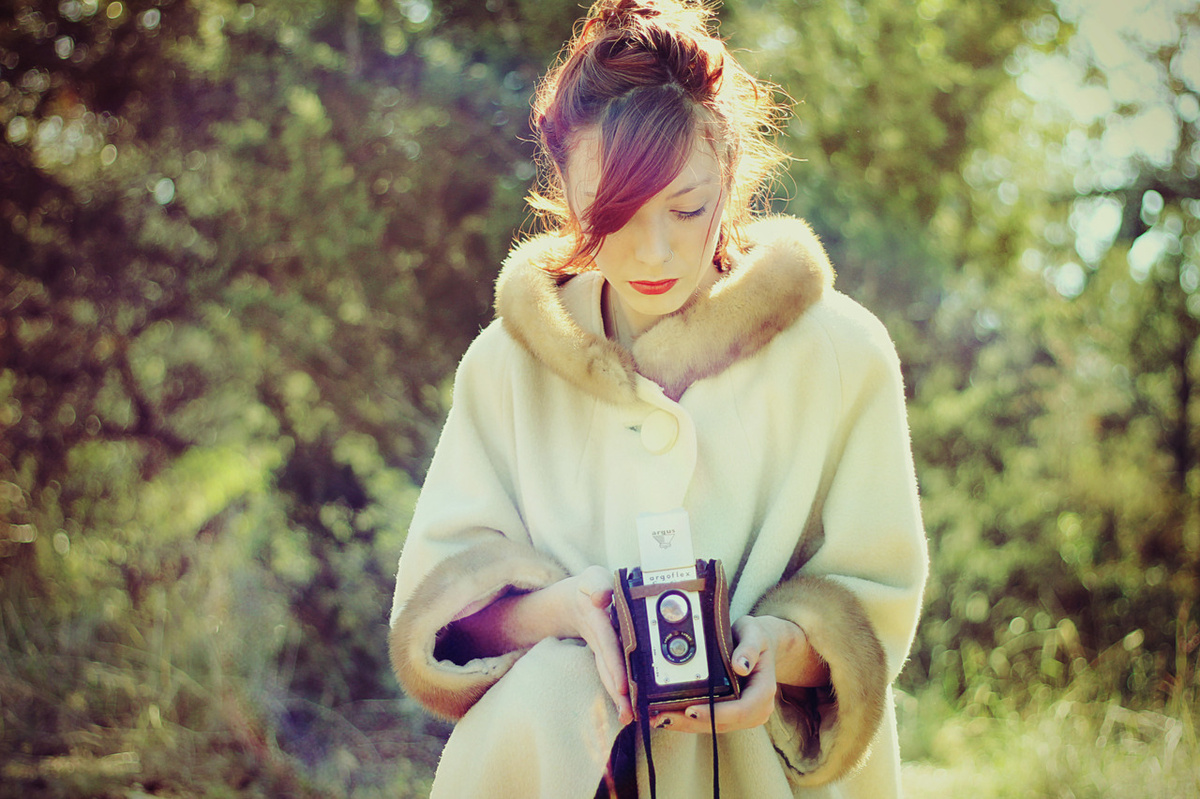 beautiful, bun, camera, cmera, coat