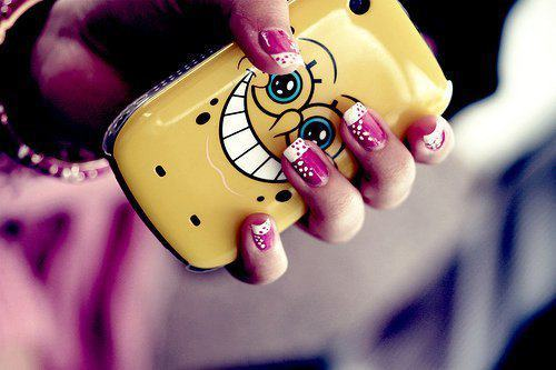 beautiful, cellular, cute, nails, photography, spongebob, sweet
