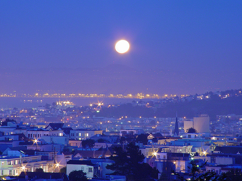 beautiful, city, lights, moon, photography