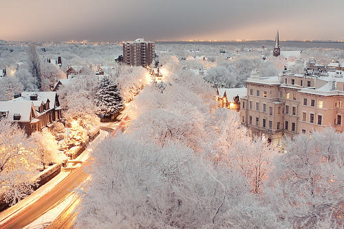 beautiful, city, lights, night, snow, street, town