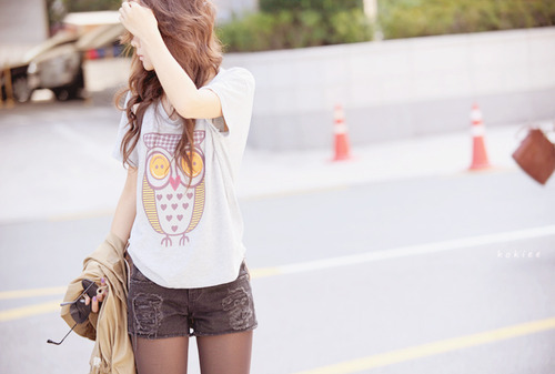 beautiful, clothes, cool, fashion, girl, hair, owl, roupa, style, t-shirt