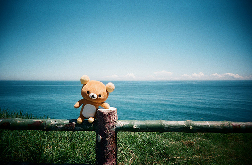 beautiful, cloud, cute, doll, japan, japanese, kawaii, landscape, nature, photography, plush, rilakkuma, san-x, sea, sky